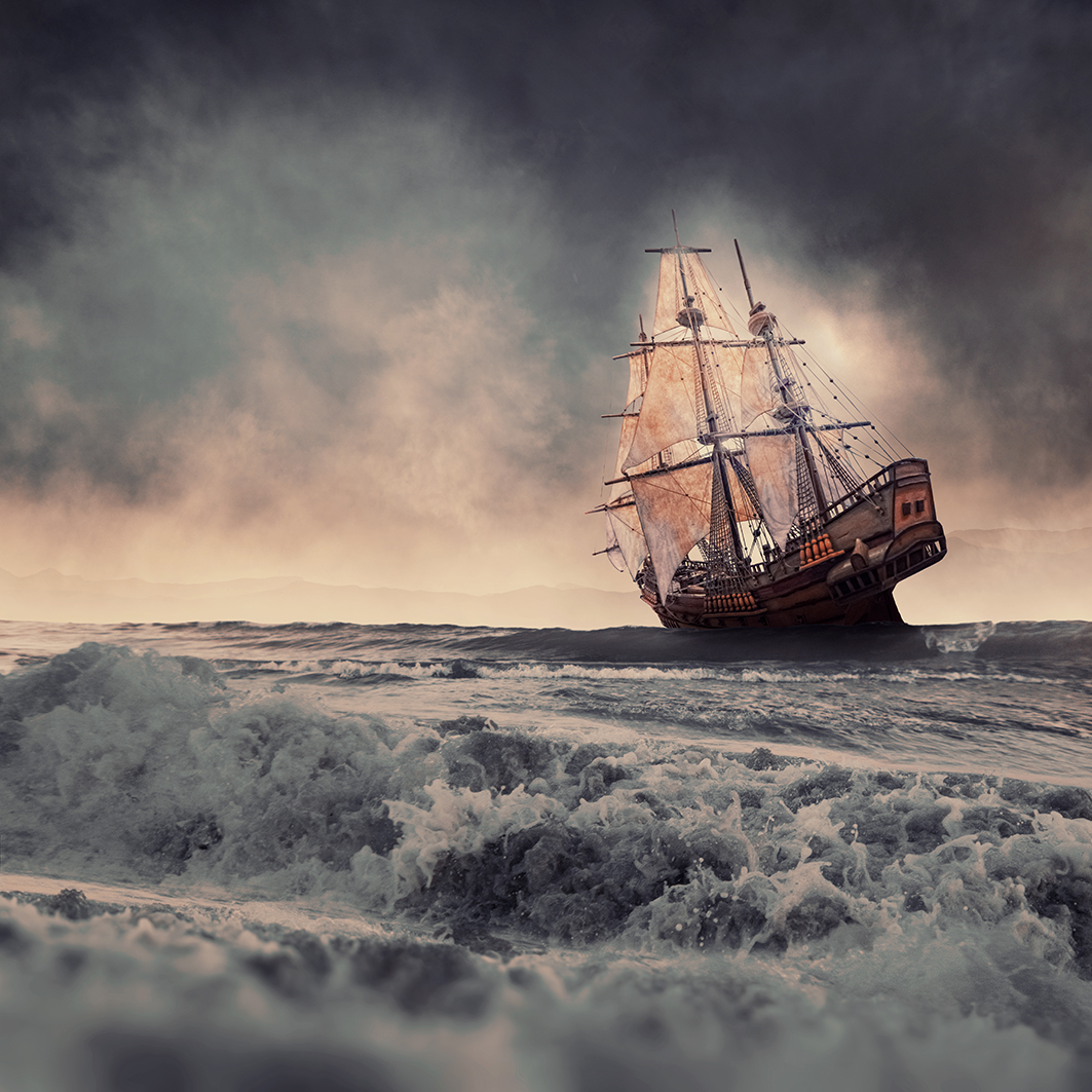 Sailing in the heavy storm